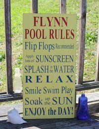 Custom Family Name Pool Rules -Wood Sign- Outdoor Decor-Custom Family Name Pool Rules -Wood Sign- Outdoor Decor