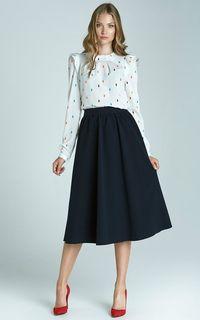 Navy Midi Skirt With Pockets by Lanti