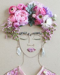 """""""Pink Frida"""" Flower Face Print"""