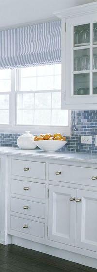 Blue Glass Tile Backsplash - Cottage - kitchen - Phoebe Howard