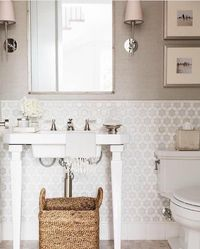 The hexagon marble tiles or the grasscloth wallpaper #bathroom #beautiful #marble #wallpaper #grasscloth #gorgeous #instagood #tile