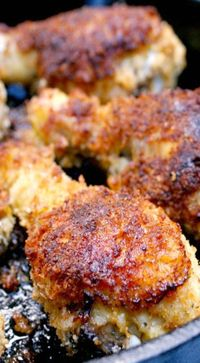 Oven-Fried Panko Crusted Drumsticks ~ They are coated in an extra crunchy seasoned panko crust and then baked in the oven until they are golden brown and extra juicy.  No one will believe that they're baked and not fried in oil!