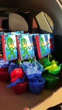 Centerpieces for PJ Masks bday party
