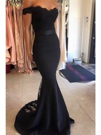 Sweetheart Off Shoulder Black  Long  Satin Prom Dresses  Evening Dresses  #SIMIBridal #promdresses