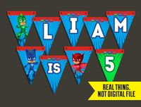 PJ Masks Pennant Style Banner Customized with Child's Name for PJ Mask Birthday Party Decor