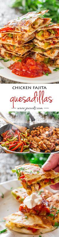 Chicken Fajita Quesadillas - Jo Cooks