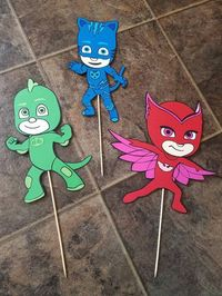 Check out this item in my Etsy shop https://www.etsy.com/listing/470211481/pj-masks-birthday-party-centerpiece