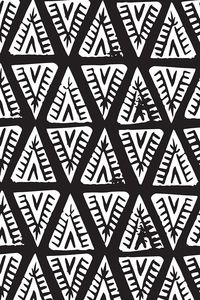 Block Print Monochrome Tipi Triangles by tonia_dee - Hand drawn black and white mudcloth pattern on fabric, wallpaper, and gift wrap. Goregous geometric black and white mudcloth pattern. #blackandwhite #mudcloth #homedecor #boho