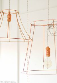 Great idea for small spaces. Rock What Ya Got: Upcycled Copper Wire Pendant Lights (from ugly lampshades!) - Vintage Revivals