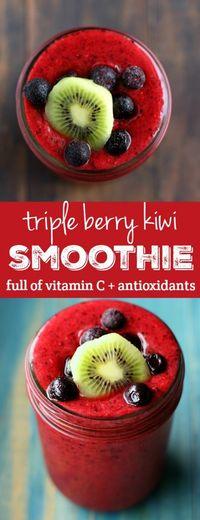 Immunity Boosting Triple Berry Kiwi Smoothie. - The Pretty Bee