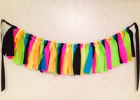 Neon Party Fabric Tie Garland