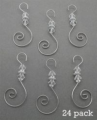 Diamond Pack of 24 Swirled Beaded Christmas Ornament Hooks