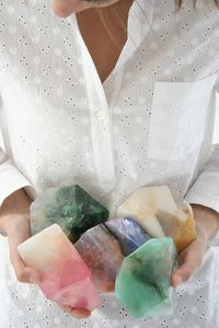 Elevates soap to art, each appears to illuminate under water, and over many uses, slowly weathers away in your hands like a stream stone in geologic time. A hybrid dense glycerine soap that lifts very