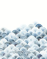 Blue Waves watercolour art print by Yao Cheng Design