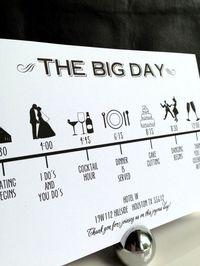 Custom DIY Printable Wedding Timeline in modern font in black and white in size 5x7