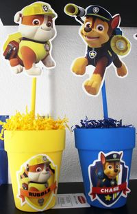 Made these Paw Patrol Centerpieces for my sons 6th Birthday, yellow one is Ruble & blue one is Chase