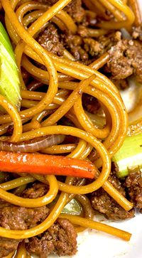 Ground Beef Lo Mein ~ Don't call takeout... This beef lo mein is tasty, economical and pretty close to the restaurant version.