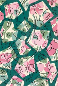 PINK FLOWERS IN GEOMETRICAL SHAPES An exclusive reproduction of a Parisian textile design from Atelier Zina de Plagny, 1940s-1950s.