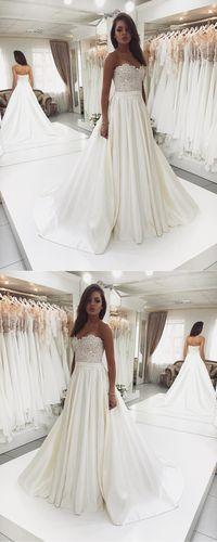 Sweet Heart Satin Beaded Wedding Dress, A-Line Backless Lace Top Wedding Dress, D1084