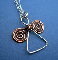 Handmade Angel pendant - silver and copper wire by VisionQuest-lg silver wings top, small on bottom?