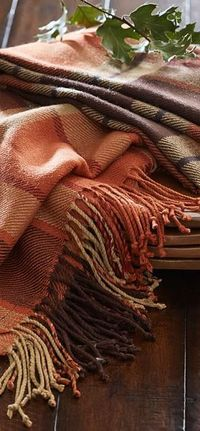 Fall Decor   Plaid tablecloth in warm tones