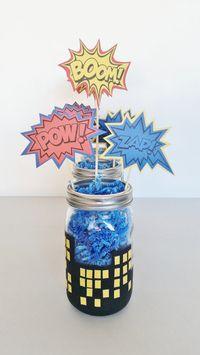 SuperHero Party Centerpieces, Boys Birthday Decor, Batman Superman and Spiderman Mason Jar Centerpieces, Superhero In Training Baby Shower