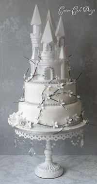amazing castle wedding cake, more twig like braches though n leaves no flowers