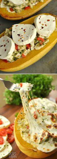 Cheesy Pesto Chicken Lasagna Stuffed Spaghetti Squash