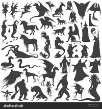 stock-vector-silhouette-collection-of-mythological-people-monsters-creatures-fairy-elf-nymph-magician-387981505.jpg (1493×1600)