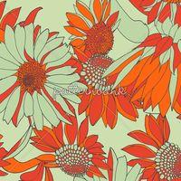 Floral Linear Daisies Terracotta