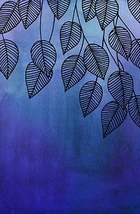 Midnight Blue Garden - watercolor & ink leaves by micklyn