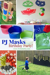 An overview from a 3 year old's birthday party. This PJ Masks party theme was a blast! So many fun ideas for food, decorations, party favors, an activity, and more!