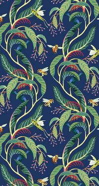 Tatsushi Eto | Illustration • Tropical pattern. Bees, Grasshoppers and plants.