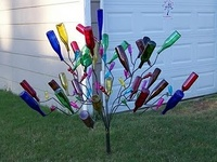 Bottle trees and color glass art