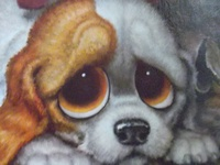 Popular in the 60s - original poster painted by Gig - gorgeous big sad eyed puppies and kittens.
