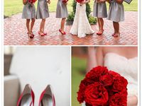 A collection of pins in a contemporary red and gray color story but with a bit of Classic, Southern Charm