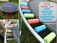 Pool noodles on the trampoline springs