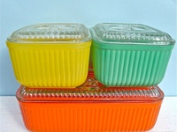 All retro kitchen items that were kitchen helpers like hand powered mixers & choppers, egg cups, bakeware, etc. Plus actual retro kitchens. The newer stuff (80's - now) are on the Kitchen Gadgets & Whatnots board.