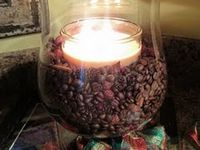 Coffee beans,vanilla candle