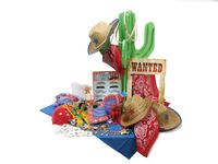 Partezy Party Supplies   A complete Western Party in a Box with cowboy hats, bandanas, sheriff badges, mustaches, wanted poster, cactus standee with rope lasso toss game, tattoos, boot mugs, golden nuggets, game ideas and more!