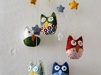 Owls - crochet, knit, felt, fabric