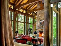 Rock, wood, stone, craftsman style homes with lake and/or mountain views