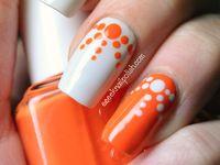 Orange/black nail design