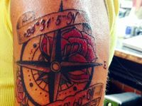 Both of my tattoos here I got while in Key West at the Southernmost Tattoo by Jason. The compass is because my husband and I travel all over, the rose for our love and the coordinates are the exact location of the Sunken Atochia.
