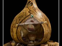 carved, painted, tole painted, burned, any artistically made gourd