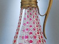 Ornate glass jugs, urns, pitchers & carafes combined with gold, silver or bronze mounts