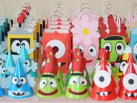 A collection of Yo Gabba Gabba decorations, food, and activities for my son's first birthday party.