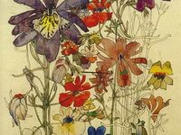 All the flowers on the paper: illustrations, drawings, paints, collages etc.