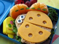 These cute Bento lunches and snacks were created by Jill Dubien and you can follow her at Meet The Dubiens, her own site.  I thought they were nutritious, easy for mom, fun for the children, good for home or to take out, gives mom a creative lift for the day to make them. What's not to like???