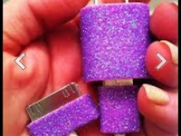 Cute designed iPhone chargers totally easy to do with nail polish and puffy paint!<3
